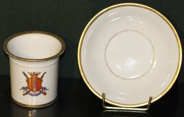 2 cups and saucers with the arms, the Imperial porcelain factory