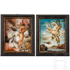 A pair of reverse glass paintings with ancient mythological scenes, South German, around 1760