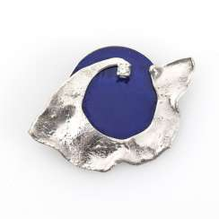 Designer brooch with lapis and diamond