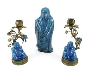 Couple of Budai as a chandelier mounted and Bodhidharma turquoise glazed