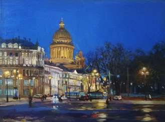 """Night. View of St. Isaac's Cathedral"""