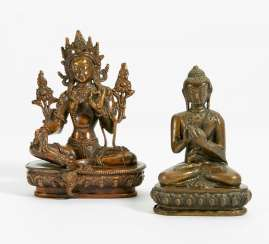 Green Tara and Buddha Shakyamuni with dharmachakra mudra