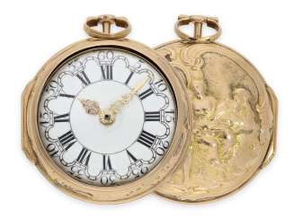 Pocket watch: early, 3-fold-case repoussé technology-Spindeluhr in Gold, signed Rose, London, CA. 1770
