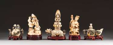 FIVE IVORY CARVINGS China