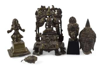 COLLECTION OF FIVE BRONZES,
