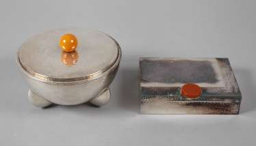 Art Deco lidded box and a small Humidor