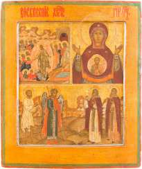 THREE FIELDS-ICON OF THE HADES JOURNEY OF CHRIST, OF THE MOTHER OF GOD OF THE SIGN WITH SELECTED SAINTS