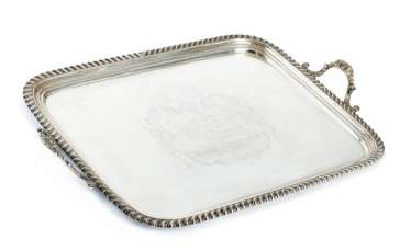 A large George IV tray with coat of arms engraving
