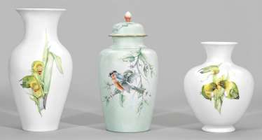 Three ornamental vases with paintings of Brigitte Holtz