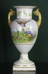 Vase with bird and fruit. KPM, the second half of the XIX century