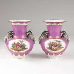 Pair of Berlin vases with Watteau scenes in purple rear