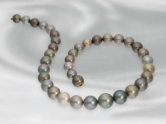 Chain/necklace: attractive Tahitian cultured clasp pearl necklace with built-in Nittel, unworn, NP approx. 4900€