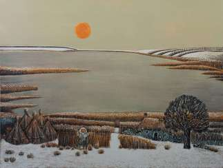Kumpf, Gottfried b. 1930 Annaberg, Austrian painter, graphic artist and sculptor. '' Winter evening ''
