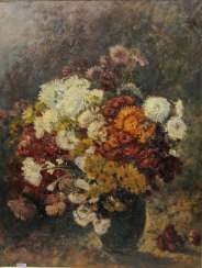 PETERS, ANNA (1843-1926): floral still life with chrysanthemums, 19th century./20. Century.