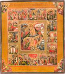 A FINE ICON OF THE DESCENT INTO HELL AND RESURRECTION OF CHRIST WITH THE FOUR EVANGELISTS