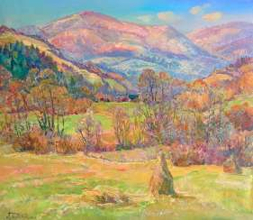 The sun dancing in the Mountains Painting by Aleksandr Dubrovskyy