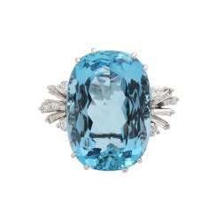 Aquamarine ring approx. 16 ct diamonds, together CA. 0,55 ct