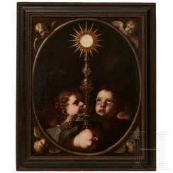 Host monstrance surrounded by putti, Neapolitan school, 1st half of the 17th century