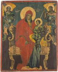 LARGE-FORMAT ICON WITH THE ENTHRONED MOTHER OF GOD