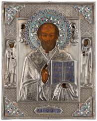 ICON WITH ST. NICHOLAS OF MYRA WITH CLOISONNÉ-EMAIL-OKLAD Russia