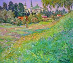 Beautiful bright sunshiny day in Boguchwala Painting by Aleksandr Dubrovskyy