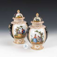 Pair of cover vases with Watteau's painting, HE