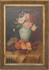 UNKNOWN ARTIST, still life WITH FLOWERS and FRUIT, Oil/canvas, 20. Century