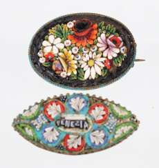 2 micro-mosaic brooches