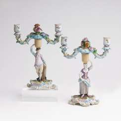 Pair of figure candlesticks with gardener figures