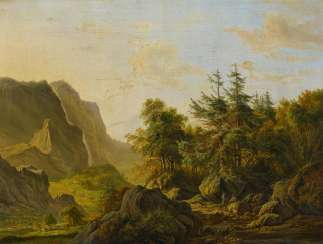 High mountain landscape with hunters in the evening light
