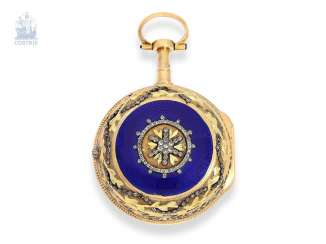 Pocket watch: very fine Gold/enamel Spindeluhr with special housing decoration, Chatelaine and Repetition on bell, Berthoud, Paris, around 1780