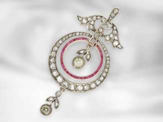 Pendant: very fine antique pendant set with diamonds and rubies, red gold and silver, around 1910