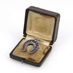 Vienna horseshoe brooch with sapphires and old European cut diamonds