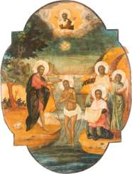 A MONUMENTAL ICON OF THE BAPTISM OF CHRIST FROM A CHURCH ICONOSTASIS