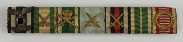 Saxony: Large Ribbonbar of valor officer with 7 awards.