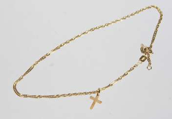 Cross pendant with chain - yellow gold 333