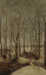 Flemish, 16. Century. Winter forest landscape with figure staffage