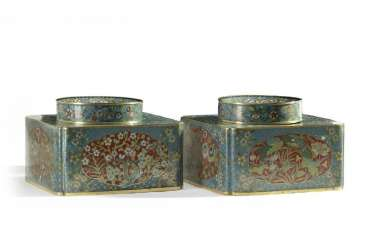 A pair of large Chinese cloisonne enamel ink pots