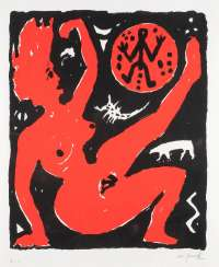A. R. PENCK 1939 Dresden - 2017 Zurich. FEMALE NUDE IN RED