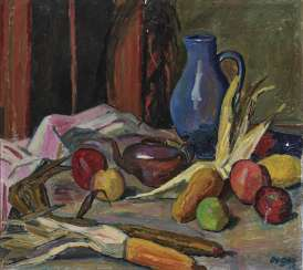 Still life with a blue jug and fruits