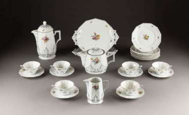 17-PIECE COFFEE SERVICE 'PERL' WITH FLOWERS PAINTING