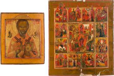 TWO ICONS: SAINT NICHOLAS OF MYRA AND LARGE FESTIVE ICON