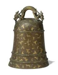 A CHINESE GILT-SPLASHED BRONZE BELL