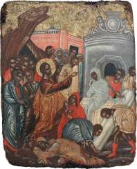 FINE ICON WITH THE REVIVAL OF LAZARUS Greece