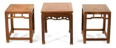 Wooden stool with a volute-shaped frame and a Pair of stools