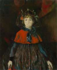 Portrait of a Girl, signed, also further signed with initials, titled in Cyrillic and dated 1998 on the reverse.