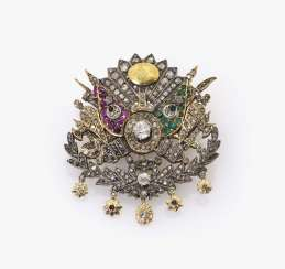 Brooch in the form of the coat of arms of the Ottoman Empire under Sultan Abdul Hamid II (R., 1876-1909)