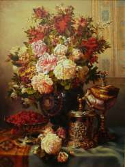 still life with Cup and flowers and raspberries