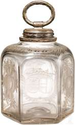 Screw-top bottle with cut decoration and silver mount, South Germany, around 1660