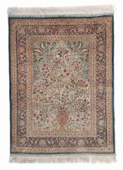 Silk prayer rug with birds and vase motif, North India/Pakistan